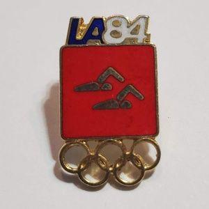 Accessories - Swimming Olympic Pin Badge 1984 LA Olympics